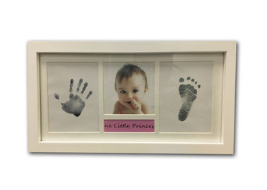 White Newborn Baby Hand And Footprint Photo Frame Inkless With Picture Name