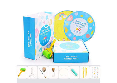 China Colorful Baby Shower Gift , Handprint And Footprint Clay Tin Keepsake Box factory