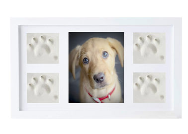 China Non Toxic Pet Keepsake Frame Kit , Solid Wood Pet Memorial Photo Frame With Clay factory