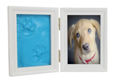 China Dog / Cat Pet Memorial Picture Frame , Clay Paw Print Memorial Picture Frame factory