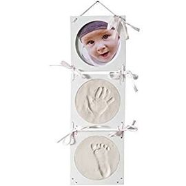 Wooden Baby Birth Souvenirs , 3 Folded Keepsake Photo Frame White Handprint Kit