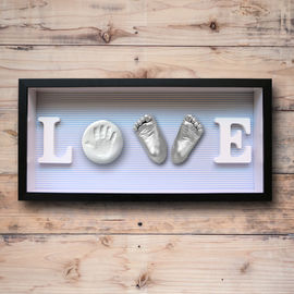China Baby Feet and Hands 3D Baby Casting Kit , Plaster Handprint Footprint Wooden Photo Frame factory