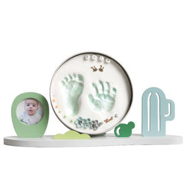 China Wooden Baby Keepsake Tin Frame Newborn Hand And Footprint Clay Kit factory