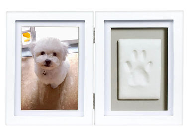 China Custom Wood Pet Keepsake Frame , Clay Paw Print Decoration For Dog / Cat factory