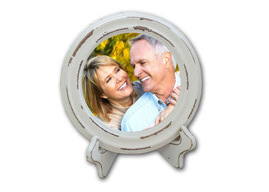 5.5 Inch Wooden Photo Frames White Round Picture Frames For Home Decoration