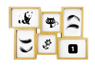 Decorative 6 Openings Wooden Photo Frames Plain Wall Hanging Collage Picture Frames