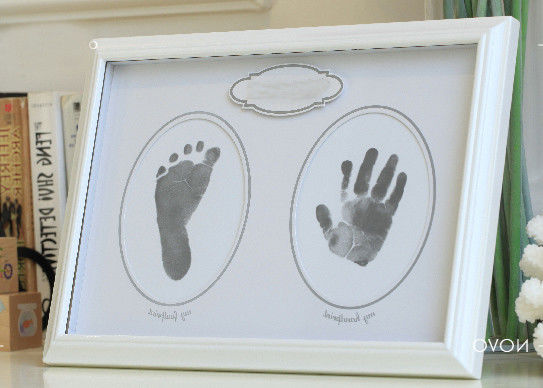 Wooden Baby Hand And Footprint Photo Frame Baby Safe Non Toxic Ink Pad For Birthday Gift