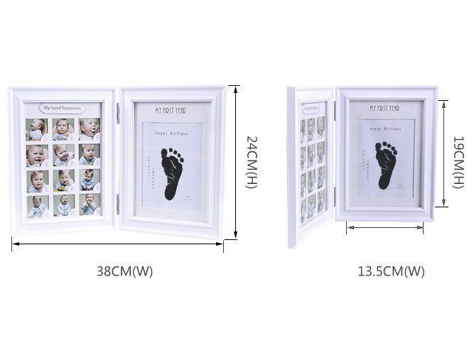 Wood Safe Baby Hand And Footprint Photo Frame Kit Non Toxic Ink Pad For Girls / Boys